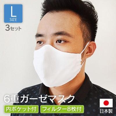 ガーゼマスク 日本製 Lサイズ 3セット入 ポケット付き 立体 洗える