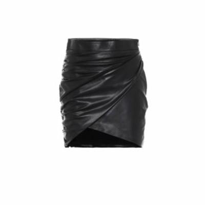 ゼイネプアルケイ Zeynep Arcay レディース ミニスカート スカート Draped leather miniskirt Black