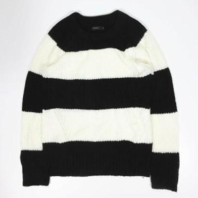 【中古】roshell ロシェル ボーダー ニット セーター クルーネック 長袖 サイズL 黒×白 メンズ
