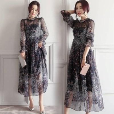 シフォン フラワー ロング ドレス ブラック パーティドレス ミニフリル 総柄 シースルー 透け感 大人レディ 華やか エレガント