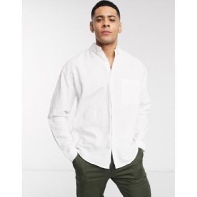 エイソス メンズ シャツ トップス ASOS DESIGN relaxed fit button collar linen shirt in white White