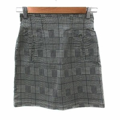 【中古】ココディール COCO DEAL スカート 台形 ミニ グレンチェック柄 2 グレー オフホワイト /NS18 レディース