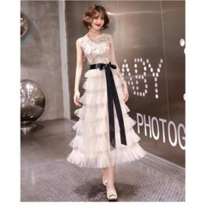ウエディングドレス パーティドレス リボン付き 結婚式ワンピース フォーマル ロング丈ドレス お呼ばれドレス 上品 大人 発表会 演奏会
