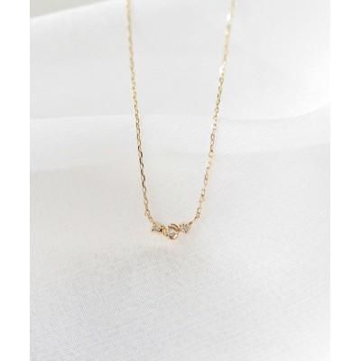 ネックレス K10 ダイヤモンド 3粒並びネックレス
