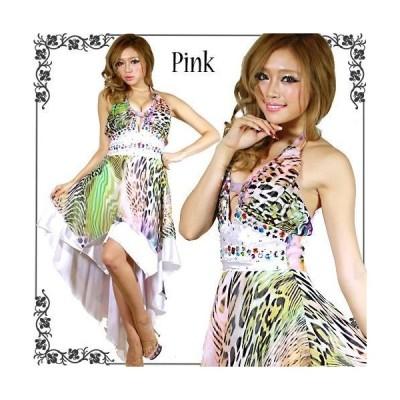 DressAngelo/ドレス/キャバドレス/ナイトドレス/パーティードレス/カラービジュー付き大人アニマル柄ホルターネックラウンドカットドレス[0046]