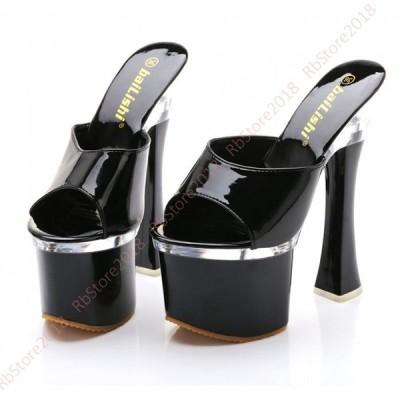 ストーム付き ハイヒール ミュール サンダル 黒 レディース 靴 美脚 大きいサイズ 小さいサイズ 18cmヒール パーティ 厚底 プラットフォーム 履きやすい