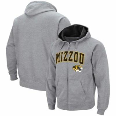 Colosseum コロセウム スポーツ用品  Colosseum Missouri Tigers Heather Gray Arch & Logo Tackle Twill Full-Zip Hoodie