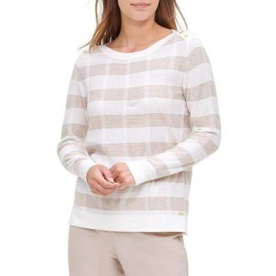 カルバンクライン レディース ニット&セーター アウター Striped Buttoned-Shoulder Pullover Winter White Latte