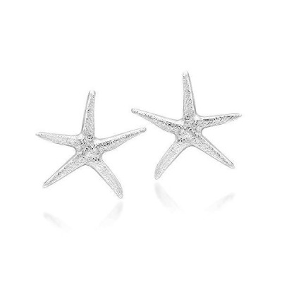 Ocean Starfish Textured Finish 15mm .925 Sterling Silver Post Earrings