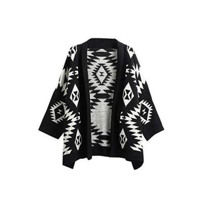 Flygo Women's Geometirc Print Cardigan Open Front Long Sleeve Knit Sweater