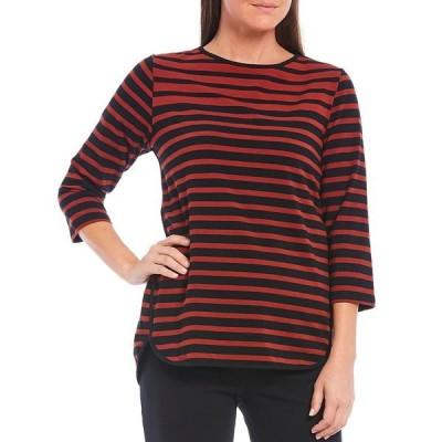 ルビーロード レディース Tシャツ トップス Yarn-Dye Striped Crew Neck 3/4 Sleeve Hi-Low Knit Top Cinnabar Multi