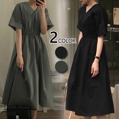 【自社製品 】◆春夏人気新品◆2019韓国ファッション 春のシャツワンピース ボディラインがキレイに見える美シルエットフレアワンピース