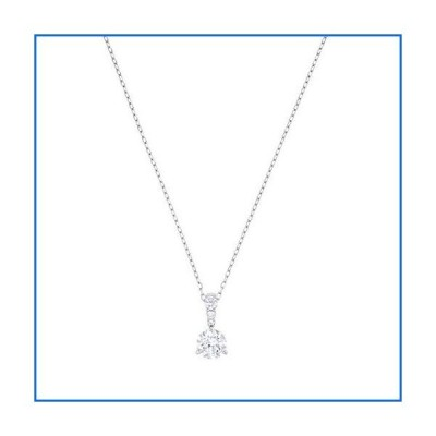 Swarovski Solitaire Necklace with a White Crystal Pendant on a Rhodium Plated Chain[並行輸入品]