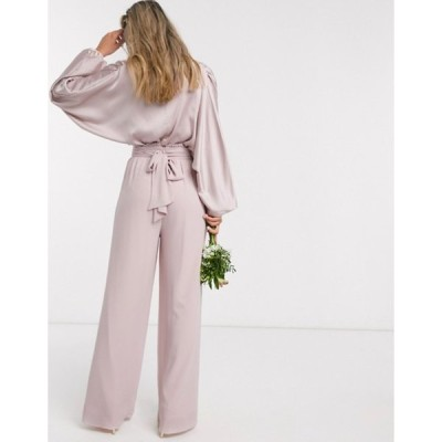 ティエフエヌシー レディース カジュアルパンツ ボトムス TFNC bridesmaids wide leg pants with ruffle waist detail and belt in pink