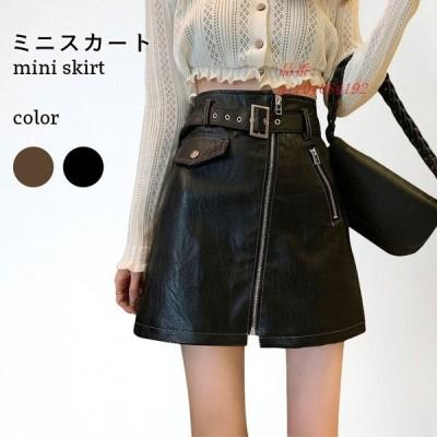 ミニスカート カジュアル すっきり おしゃれ きれいめ ゆったり ショートスカート 秋冬 合皮 可愛い シンプル 無地 フェイクレザー レディース