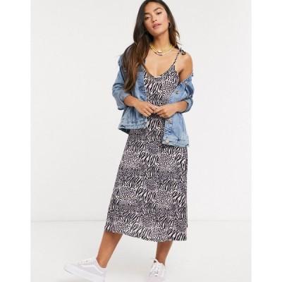 QEDロンドン レディース ワンピース トップス QED London cami strap slip dress in zebra print Pink/black