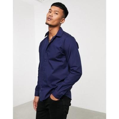 ボロンガロトレバー Bolongaro Trevor メンズ シャツ トップス slim fit classic shirt ネイビー