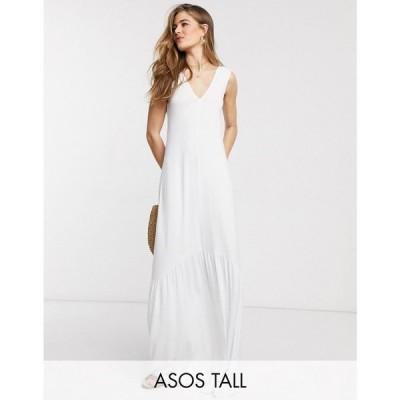 エイソス ASOS Tall レディース ワンピース Vネック マキシ丈 Asos Design Tall Exclusive V Neck Maxi Dress With Full Pep Hem In White ホワイト