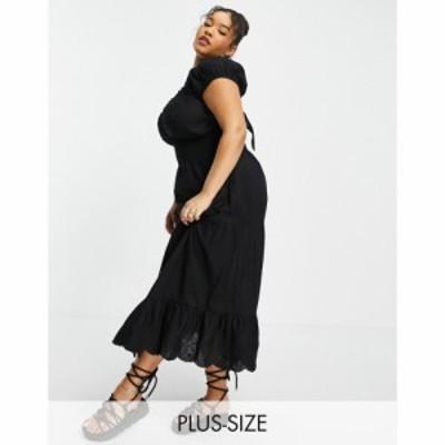 リバーアイランド River Island Plus レディース ワンピース Aライン ワンピース・ドレス lace tiered maxi dress in black ブラック