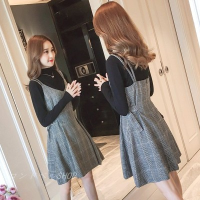 レディース サロペットスカート ワンピース オーバーオール 膝丈ワンピ ゆったり Aラインスカート 大きいサイズ 体型カバー 女性 20代30代 お出かけ