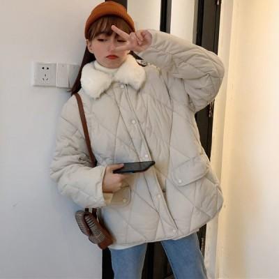 コート レディース キルティングコート 中綿コート ジャケット ブルゾン ファー襟 秋冬 大きいサイズ ダウンジャケット キルトダウン 無地 防寒 あったか