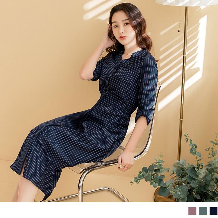 拼接條紋V領可反摺袖綁帶鬆緊長洋裝