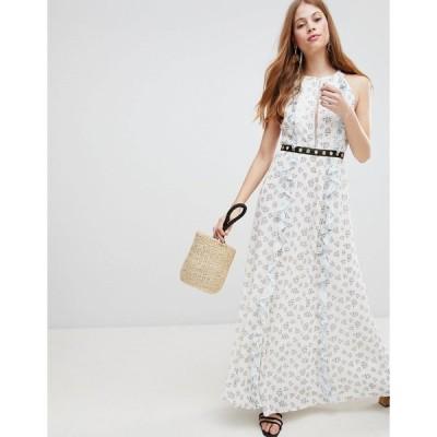 グラマラス ミディドレス イブニングドレス レディース Glamorous Ditsy Floral Maxi Dress エイソス ASOS ホワイト 白