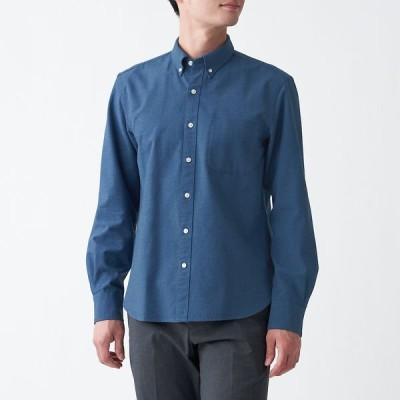 無印良品 洗いざらしオックスボタンダウンシャツ 紳士 L スモーキーブルー 良品計画