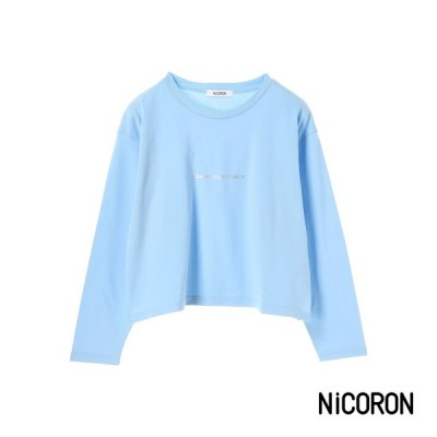 レディース カットソー 長袖 tシャツ 長袖tシャツ クルーネック 短丈 ロゴ ブランド おしゃれ NiCORON ニコロン 得トクセール tシャツ セール sale