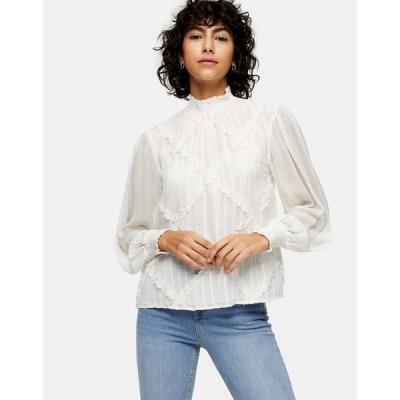 トップショップ Topshop レディース ブラウス・シャツ トップス embroidered blouse in ecru クリーム