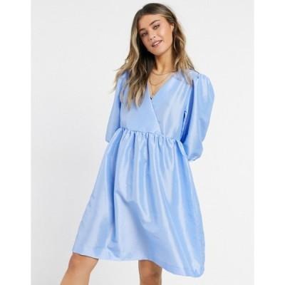 モンキ レディース ワンピース トップス Monki Celia taffeta mini smock dress in blue