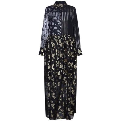 セミクチュール SEMICOUTURE ロングワンピース&ドレス ブラック 42 シルク 89% / ポリウレタン 11% ロングワンピース&ドレス