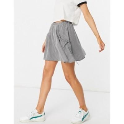 エイソス レディース スカート ボトムス ASOS DESIGN flippy mini skirt with ruched pocket detail in textured gingham print Multi