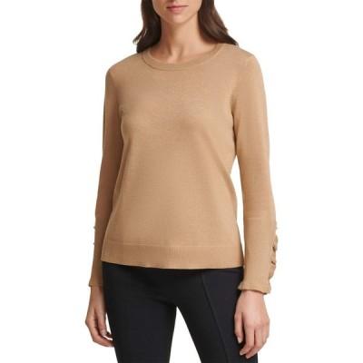 カルバンクライン Calvin Klein レディース ニット・セーター トップス Crew Neck Sweater with Ruffle Sleeves Camel