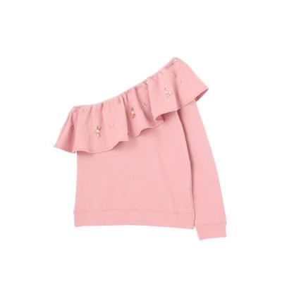 MERCURYDUO ビジュー裏毛ワンショルTOPS(ピンク)