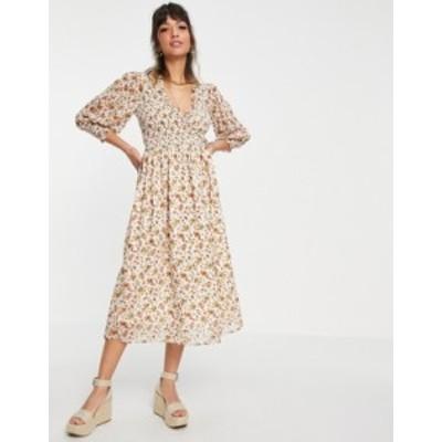 エイソス レディース ワンピース トップス ASOS DESIGN midi smock dress with shirred cuffs in cream floral print Cream based floral