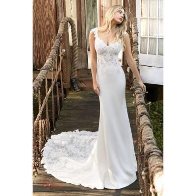 マーメイドラインドレス トレーン ウエディングドレス 欧米風 お洒落 花嫁 イブニングドレス 披露宴 パーティー ロングドレス 結婚式 ハートカット