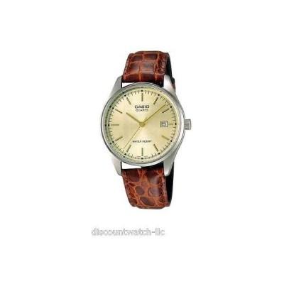 カシオ 腕時計  Casio MTP1175E-9A メンズ ブラウン レザー カジュアル ドレス 腕時計 ゴールド ダイヤル