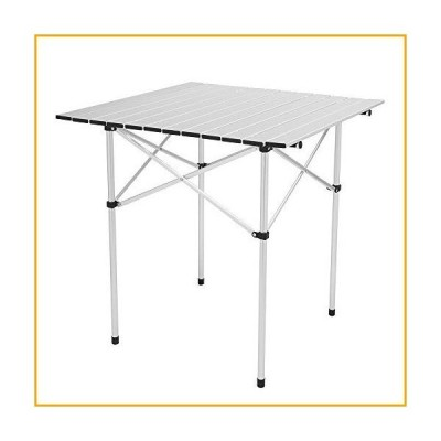 """HKFR Camping Folding Table - Compact Roll Top Aluminum Table, 27.6"""" x 27.6"""" x 27.6"""", Lightweight Portable Camp Table with Carrying Bag, Silv"""