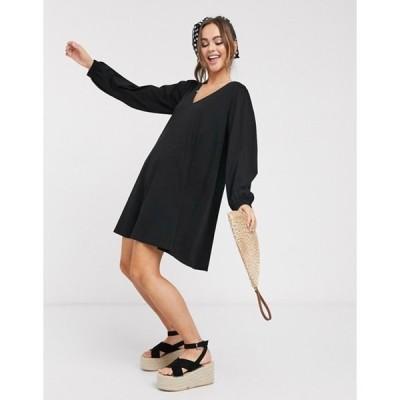 エイソス レディース ワンピース トップス ASOS DESIGN smock mini dress with balloon sleeves in black