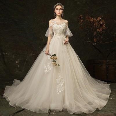 ウェディングドレス白 パーティードレス レース パフスリーブ 花嫁ロングドレス 結婚式  露背 二次会 エレガント お呼ばれ 挙式hs5163