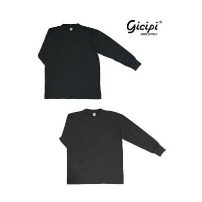 gicipi ジチピ【SALE】  イタリア製 2106P Baccala バッカラー ポケット付きロングスリーブTシャツ NeroVelato(ブラック) MarroneVelato(チャコール)