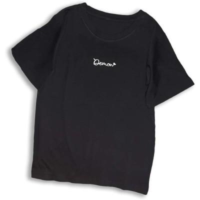 [ミケディ] ショートスリーブ ロゴ Tシャツ コットン レディース ワンポイント シンプル かわいい ブラック L