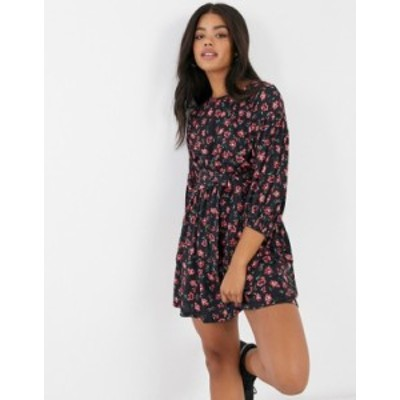 エイソス レディース ワンピース トップス ASOS DESIGN belted mini dress in black and red floral print Black based floral