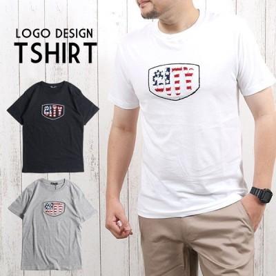 Tシャツメンズ半袖ロゴ刺繍サガラワッペン半袖Tシャツシンプル白黒ホワイトブラックみ1