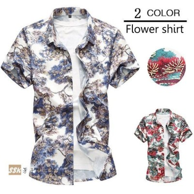 カジュアルシャツ半袖シャツアロハシャツメンズシャツ花柄シャツ爽やかビッグサイズメンズシャツ夏花柄