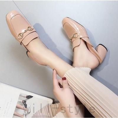 ローファーミュール韓国オルチャンストリートエナメルサボサンダルビット金具きれいめ原宿系靴シューズパンプス