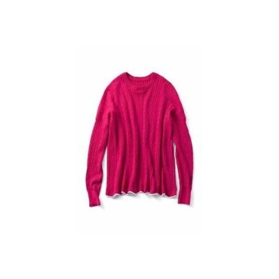 リブ イン コンフォート Live in comfort ゆったりラインで着こなしやすい 総柄ケーブル編みシルク混ニット (ピンク)
