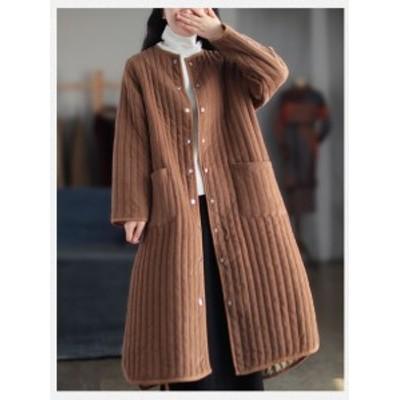 ノーカラーコート アウター コート 中綿 ロング丈 3色 カジュアル 無地 防寒 暖かい トレンド お出掛け 通勤 秋冬