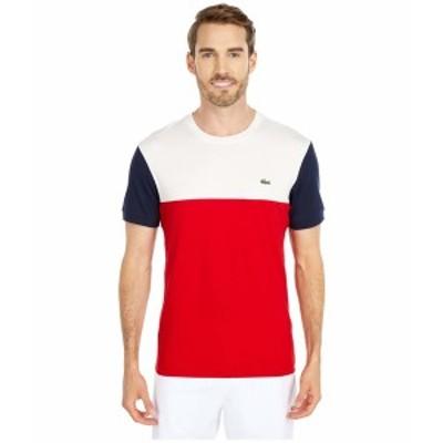 """ラコステ メンズ シャツ トップス Short Sleeve Striped """"Color-Block"""" T-Shirt Red/Flour/Navy Blue"""